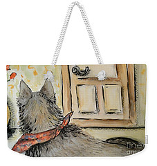 Weekender Tote Bag featuring the painting Waiting For The Humans by Maria Langgle