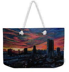 Weekender Tote Bag featuring the painting Waiting For The Light by Ron Richard Baviello