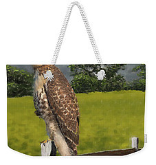 Waiting For The Storm - Red Tail Hawk Weekender Tote Bag