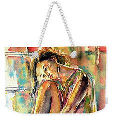Weekender Tote Bag featuring the painting Waiting For You by Kovacs Anna Brigitta