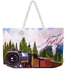 Waiting On A Siding In The Rockies Weekender Tote Bag