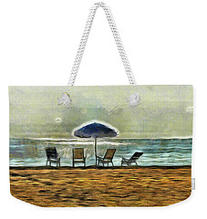 Weekender Tote Bag featuring the mixed media Waiting On High Tide by Trish Tritz