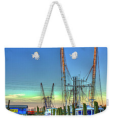 Weekender Tote Bag featuring the photograph Waiting Shrimp Boats Wilmington River Tybee Island Georgia Art by Reid Callaway