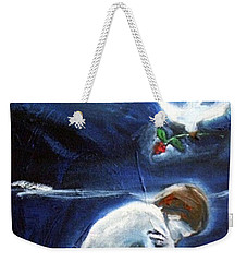 Weekender Tote Bag featuring the painting Waiting by Winsome Gunning