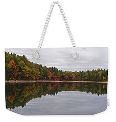 Walden Pond Fall Foliage Concord Ma Reflection Trees Weekender Tote Bag