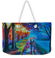 Weekender Tote Bag featuring the painting Walk By The Lake  by Leslie Allen