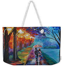 Weekender Tote Bag featuring the painting Walk By The Lake Series 1 by Leslie Allen