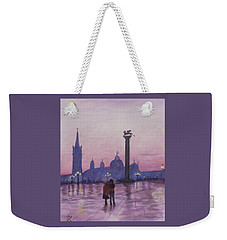 Weekender Tote Bag featuring the painting Walk In Italy In The Rain by Dan Wagner