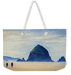 Weekender Tote Bag featuring the painting Walk On The Beach by Jeff Kolker