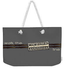 Weekender Tote Bag featuring the photograph Walk The Line Light Lettering by Heather Applegate