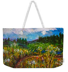 Weekender Tote Bag featuring the painting Walk With Me by Claire Bull