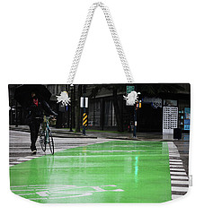 Weekender Tote Bag featuring the photograph Walk With Wheels  by Empty Wall