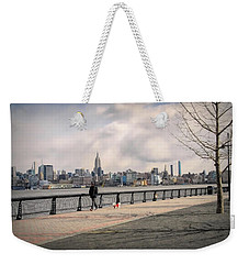 Walking Along Hoboken's Hudson River Waterfront Walkway Weekender Tote Bag