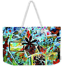 Weekender Tote Bag featuring the mixed media Walking Amongst The Monarchs by Genevieve Esson