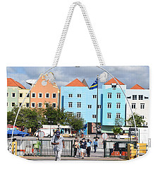 Weekender Tote Bag featuring the pyrography Walking Bridge Of Curacao by Gary Smith