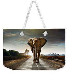 Walking Elephant Weekender Tote Bag by Carlos Caetano