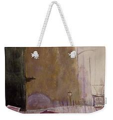 Weekender Tote Bag featuring the painting Walking In The Rain by Dan Wagner