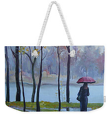 Weekender Tote Bag featuring the painting Walking In The Rain by Elena Oleniuc
