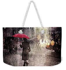 Walking In The Rain Somewhere Weekender Tote Bag