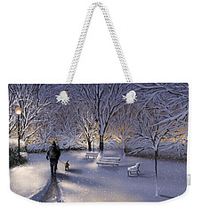 Weekender Tote Bag featuring the painting Walking In The Snow by Veronica Minozzi