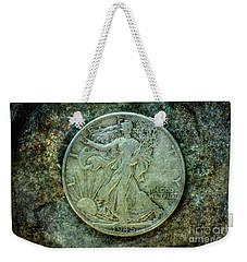 Weekender Tote Bag featuring the digital art Walking Liberty Half Dollar Obverse by Randy Steele
