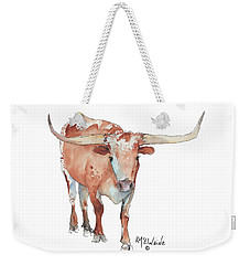 Walking Tall Texas Longhorn Watercolor And Ink By Kmcelwaine Weekender Tote Bag