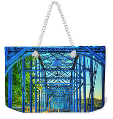 Walking Tall Walnut Street Pedestrian Bridge Art Chattanooga Tennessee Weekender Tote Bag by Reid Callaway
