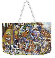 Weekender Tote Bag featuring the painting Walking The Dog 3 by Mark Howard Jones