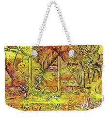 Weekender Tote Bag featuring the painting Walking The Dog 5 by Mark Howard Jones