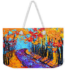Weekender Tote Bag featuring the painting Walking Within - Enchanted Forest Collection - Modern Impressionist Landscape Art - Palette Knife by Patricia Awapara