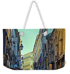Weekender Tote Bag featuring the photograph Walkway Over The Street - Lisbon by Mary Machare