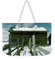 Weekender Tote Bag featuring the photograph Walkway To An Old Barn by Jeff Swan
