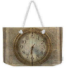 Weekender Tote Bag featuring the digital art Wall Clock And Book Double Exposure by Randy Steele