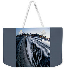 Wall Of Ice And Chicago Skyline At Dusk  Weekender Tote Bag