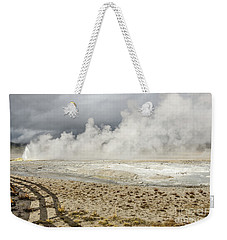 Weekender Tote Bag featuring the photograph Wall Of Steam by Sue Smith