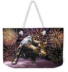 Wall Street Bull Fireworks Weekender Tote Bag