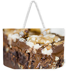 Walnut Brownie On A White Plate Weekender Tote Bag