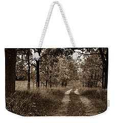 Weekender Tote Bag featuring the photograph Walnut Lane Antiqued by Melissa Lane