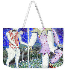 Weekender Tote Bag featuring the painting Wand With Magician And Jester by Lise Winne