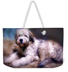 Weekender Tote Bag featuring the digital art Want A Best Friend by Kathy Tarochione