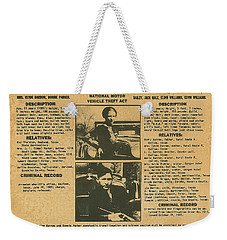 Wanted Poster - Bonnie And Clyde 1934 Weekender Tote Bag by F B I