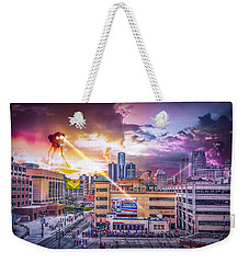 Weekender Tote Bag featuring the photograph War Of The Worlds Detroit By Nicholas Grunas by Nicholas  Grunas