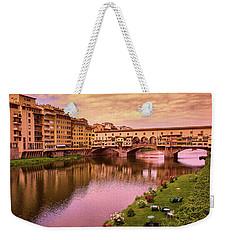Warm Colors Surround Ponte Vecchio Weekender Tote Bag