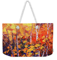 Weekender Tote Bag featuring the painting Warm Expressions by Tatiana Iliina