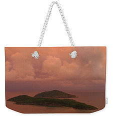 Weekender Tote Bag featuring the photograph Warm Sunset Palette Of Inner And Outer Brass Islands From St. Thomas by Jetson Nguyen