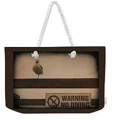 Warning No Diving 2 Weekender Tote Bag by Ernie Echols