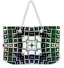 Weekender Tote Bag featuring the digital art Warped Chrome Compass by Shawna Rowe