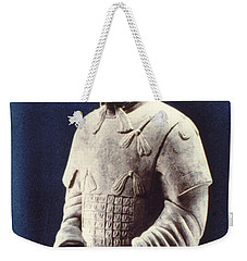 Weekender Tote Bag featuring the photograph Warrior Of The Terracotta Army by Heiko Koehrer-Wagner