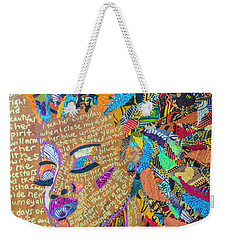 Weekender Tote Bag featuring the tapestry - textile Warrior Woman by Apanaki Temitayo M