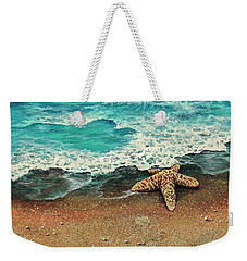 Weekender Tote Bag featuring the painting Washed A Shore by Darice Machel McGuire